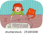 Stock vector girl working on computer with her cat 25184308