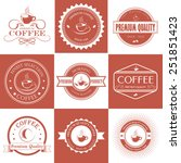 set of red and white vintage... | Shutterstock .eps vector #251851423