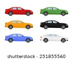 set of isolated cars of...