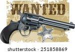 western revolver sheriff star | Shutterstock .eps vector #251858869