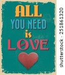 valentine's day poster. retro... | Shutterstock . vector #251861320