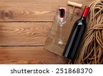 red wine bottle  wine glass and ... | Shutterstock . vector #251868370