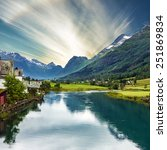 mountain landscape  olden ... | Shutterstock . vector #251869834