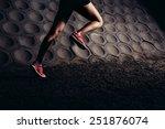 Hard Running Workout. Close Up...