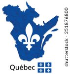 quebec map with emblem and flag ...