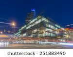 Stock photo hannover germany february nord landesbank head office in hannover at evening 251883490