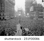 Massive crowd gathers in Times Square to celebrate the surrender of Japan, August 15, 1945. World War 2.