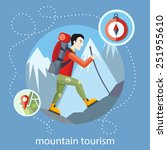 man traveler with backpack... | Shutterstock .eps vector #251955610