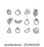 vector set of hand draw fruit... | Shutterstock .eps vector #251963140