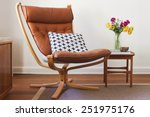 retro tan leather chair and... | Shutterstock . vector #251975176