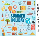 summer holiday flat icons with... | Shutterstock .eps vector #252004828