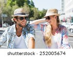 attractive happy couple wearing ... | Shutterstock . vector #252005674