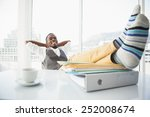 relaxed businessman sitting in... | Shutterstock . vector #252008674