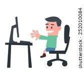 schoolboy using computer | Shutterstock .eps vector #252010084