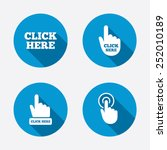 click here icons. hand cursor... | Shutterstock .eps vector #252010189