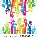 hands with hearts. silhouette... | Shutterstock .eps vector #252014710