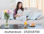 pretty brunette shopping online ... | Shutterstock . vector #252018700
