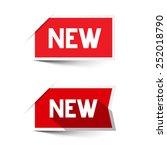 new red vector paper labels  ... | Shutterstock .eps vector #252018790