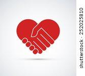 hands together. heart symbol.... | Shutterstock .eps vector #252025810
