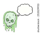 cartoon slimy skull with... | Shutterstock . vector #252029953