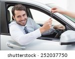 businessman sitting in drivers... | Shutterstock . vector #252037750