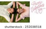 two friends lying head to head... | Shutterstock . vector #252038518