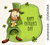 happy leprechaun holding beer... | Shutterstock .eps vector #252065368