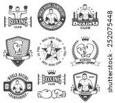 set of vintage boxing emblems ...