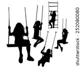 set of silhouette girl on a... | Shutterstock .eps vector #252080080