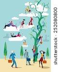men and women go up heaven with ... | Shutterstock .eps vector #252080800
