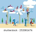 men and women go up heaven by a ... | Shutterstock .eps vector #252081676