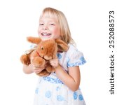 adorable young girl with a toy | Shutterstock . vector #252088573