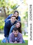 happy friends in park | Shutterstock . vector #252090298
