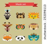 set of animal masks for costume ... | Shutterstock .eps vector #252098113