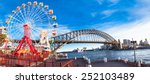 Luna park wheel with harbour bridge arch at sunset in Sydney, Australia.