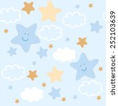 cute stars and clouds  pattern... | Shutterstock .eps vector #252103639