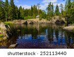 Small photo of Mountain lake landscape surrounded with forest with abor