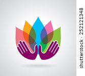 hands holding a lotus flower... | Shutterstock .eps vector #252121348
