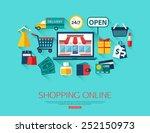 online shopping concept. vector ...   Shutterstock .eps vector #252150973