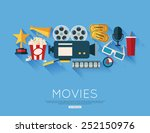 movie and film concept. flat...   Shutterstock .eps vector #252150976
