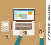 flat style working on computer... | Shutterstock .eps vector #252155389