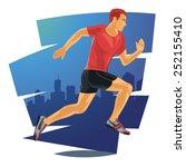 running man in detailed vector... | Shutterstock .eps vector #252155410