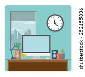 home office desk with computer  ... | Shutterstock .eps vector #252155836