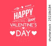 happy valentines day cards with ... | Shutterstock .eps vector #252186184