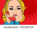 pop art  retro woman in comics... | Shutterstock .eps vector #252228724