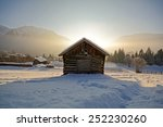 winter landscape with wooden... | Shutterstock . vector #252230260