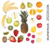 set of fruit isolated on white... | Shutterstock . vector #252231106