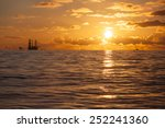 oil rig silhouette on the north ... | Shutterstock . vector #252241360