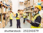 focused warehouse manager... | Shutterstock . vector #252243379