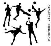 silhouette of soccer football... | Shutterstock . vector #252254260